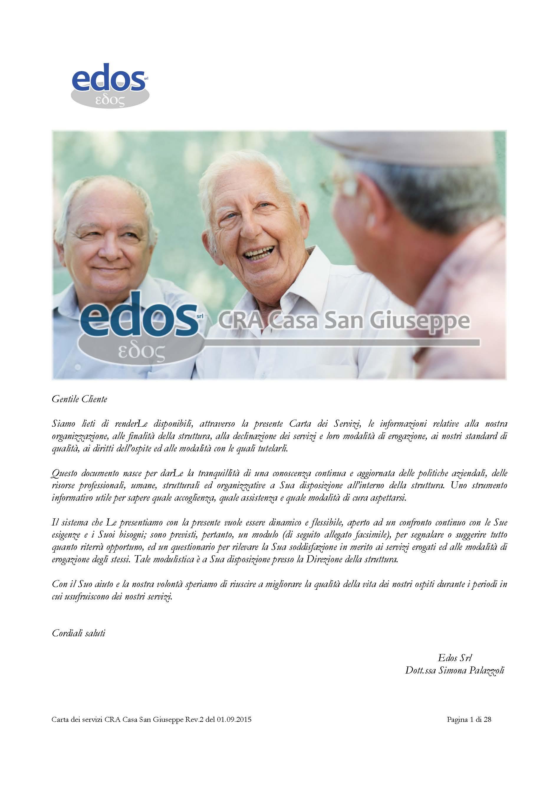 Carta dei Servizi - Casa di Riposo per Anziani Casa San Giuseppe