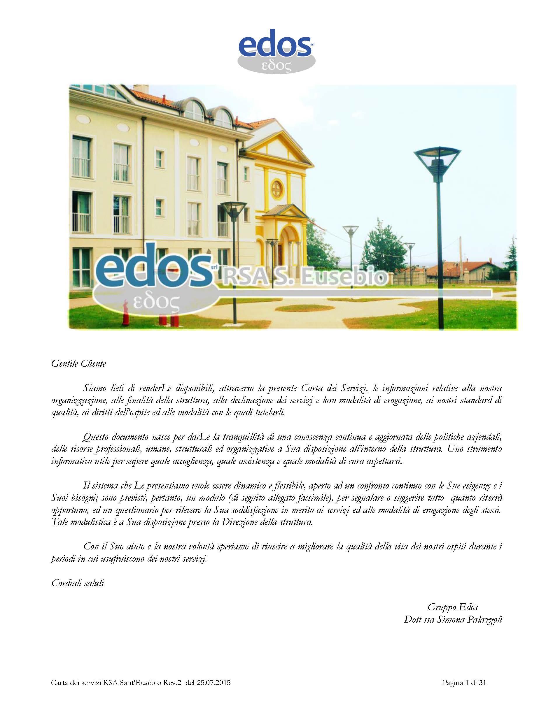 Scarica sul nostro sito web la Carta dei Servizi della Residenza per Anziani Sant' Eusebio