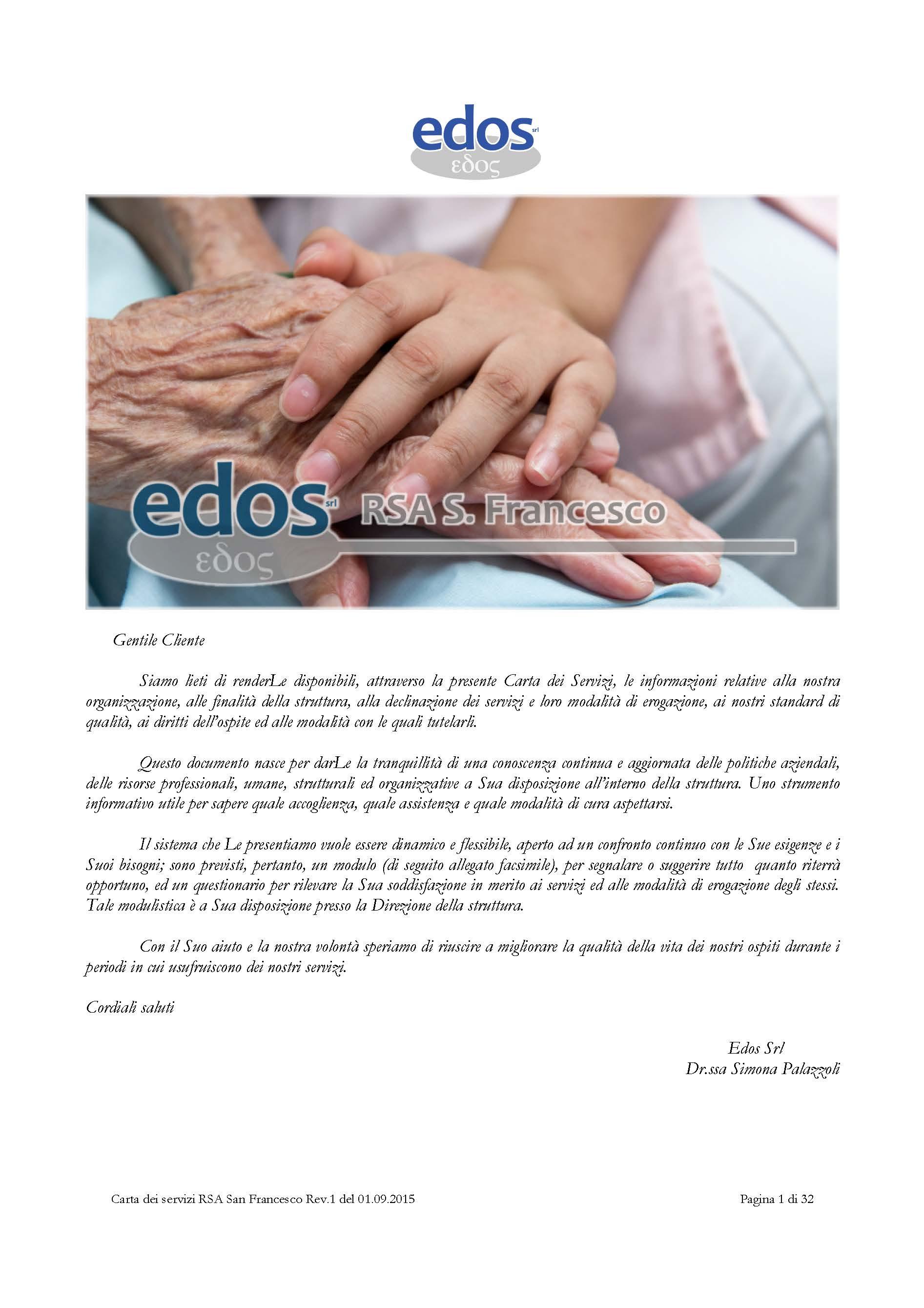 Scarica sul nostro sito web la Carta dei Servizi della Residenza per Anziani San Francesco