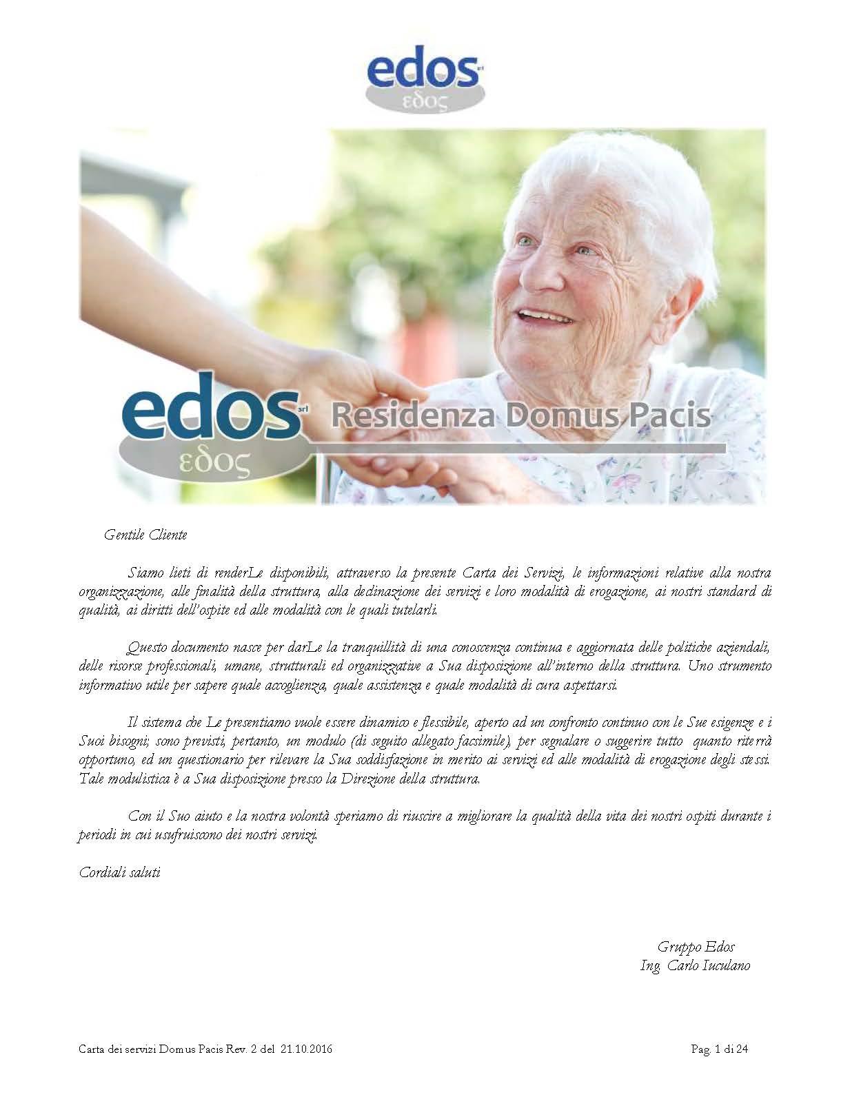 Scarica sul nostro sito web la Carta dei Servizi della Residenza Protetta Domus Pacis